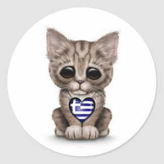 Gullig kattungekatt med grekisk flaggahjärta vit klistermärke