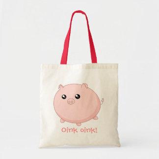 Gullig Kawaii knubbig rosa gris Budget Tygkasse