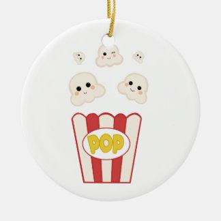 Gullig Kawaii Popcorn Julgransprydnad Keramik