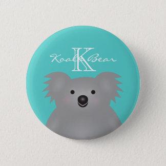 Gullig kelig Monogram för björn för Australien Standard Knapp Rund 5.7 Cm