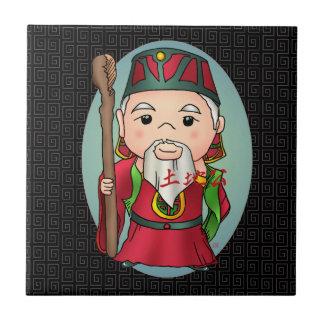 Gullig kinesisk gud av landet kakelplatta