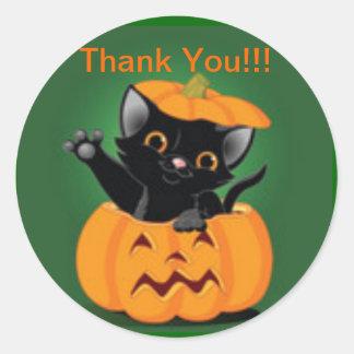 Gullig klistermärke för kattungeHalloween tack