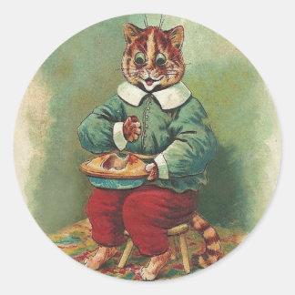 Gullig klistermärke för vintagehelgdagkatt av