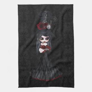 Gullig kökshandduk för Steampunk Goth flickasvart