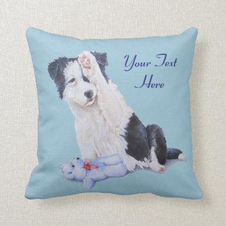 Gullig konst för porträtt för nalle för hund för kudde