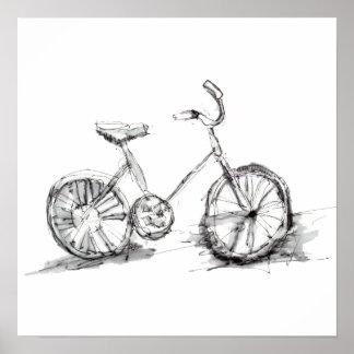 Gullig konstnärlig cykelteckning poster