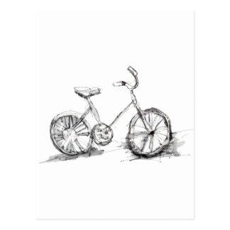Gullig konstnärlig cykelteckning vykort