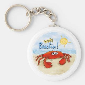 Gullig krabbakeychain rund nyckelring