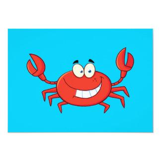Gullig krabbatecknad 12,7 x 17,8 cm inbjudningskort