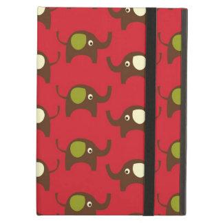 Gullig kräm för grönt för elefantmönsterbrunt på iPad air fodral