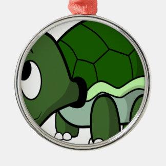 Gullig krypa sköldpadda rund silverfärgad julgransprydnad