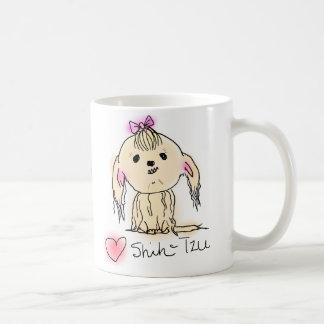 Gullig kvinnlig Shih Tzu klotterteckning Kaffemugg