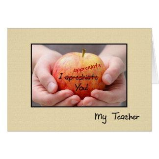 Gullig läraregillande Apple för lärare Hälsningskort