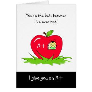Gullig läraregillandedag Apple för lärare Hälsningskort