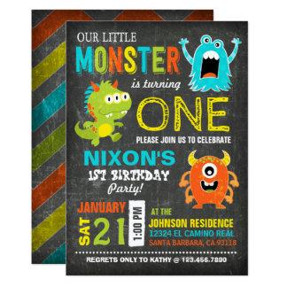 Gullig läskig lite monsterfödelsedag 12,7 x 17,8 cm inbjudningskort