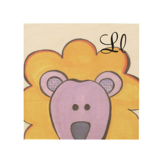 Gullig lejon panelkonst - L är för lejont Trätavla
