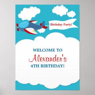 Gullig lite affisch för flygplanpojkefödelsedag poster