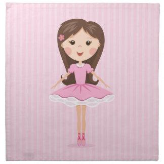 Gullig lite ballerinatecknadflicka i rosa tutu tygservett