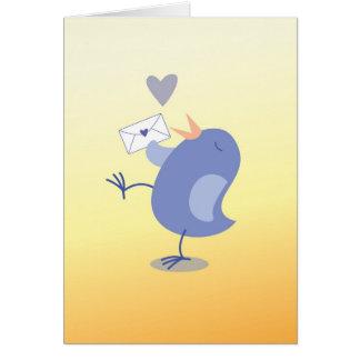 Gullig lite disktanthögtalarefågel med ett brev! hälsningskort