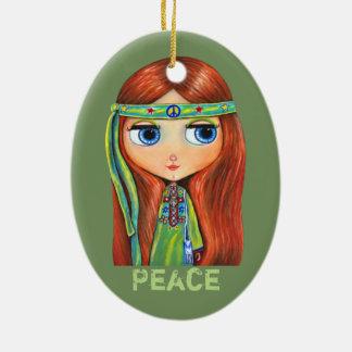 Gullig lite grön Hippieflickafredstecken Julgransprydnad Keramik