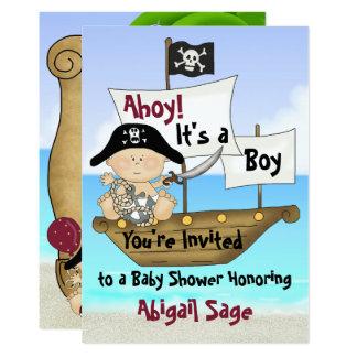 Gullig lite inbjudan för Buccaneer piratbaby