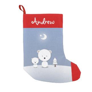 Gullig lite konst för jul för polarbjörnpersonlig liten julstrumpa