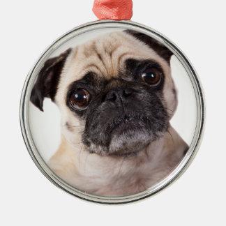 gullig lite mopshund julgransprydnad metall