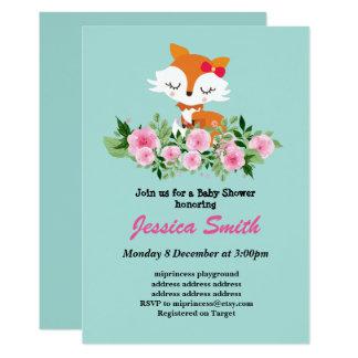 gullig lite rävbaby showerinbjudan 12,7 x 17,8 cm inbjudningskort
