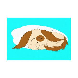 Gullig lite sömnig slågen in kanfas för valp hund canvastryck