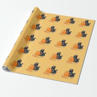 Gullig lite svart katt på en pumpa presentpapper