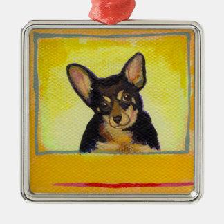 Gullig liten hundkonstsvart och julgransprydnad metall