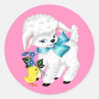 Gullig livlig Lamb och höna Runt Klistermärke