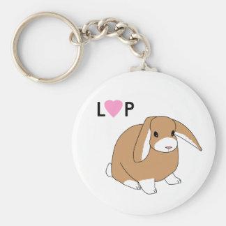 Gullig Lop-kanin Keychain Rund Nyckelring