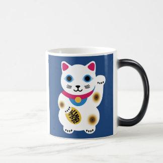 Gullig lycklig kattmugg magisk mugg