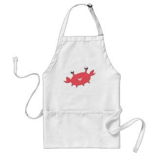 Gullig lycklig röd krabba förkläde