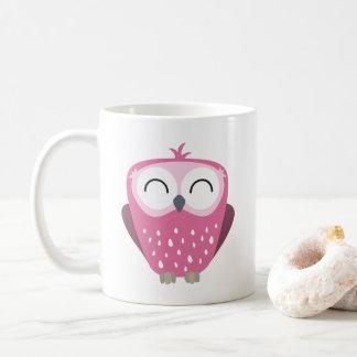 Gullig lycklig rosa uggla vit mugg