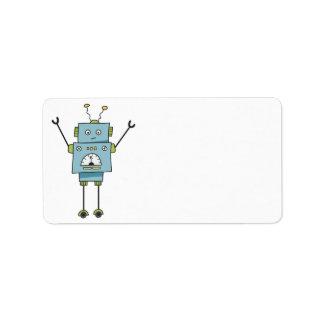 Gullig lycklig tom blåttrobot adressetikett
