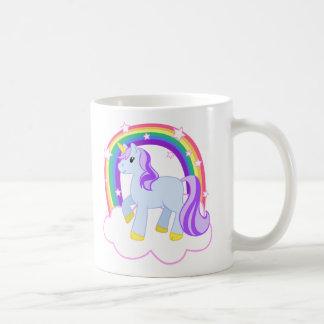 Gullig Magical Unicorn med regnbågen (anpassadet!) Vit Mugg