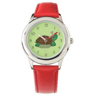 Gullig målad röd klocka för sköldpadda