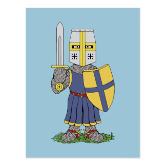 Gullig medeltida riddare vykort