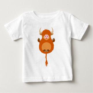 Gullig meditera för kobaby för tecknad höglands- t-shirts