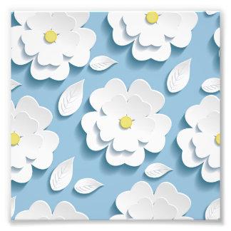 Gullig moderiktigt, baby blue, blom-, 3de, vit, fototryck