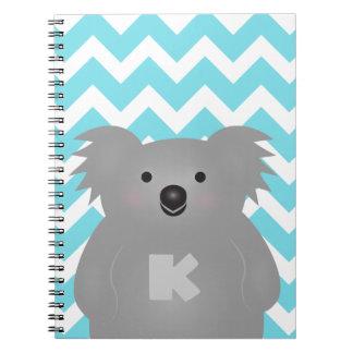 Gullig Monogram för björn för Australien babyKoala Anteckningsbok Med Spiral