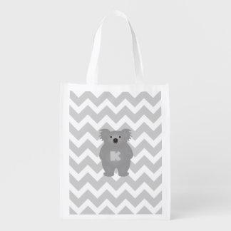 Gullig Monogram för björn för Australien babyKoala Återanvändbar Påse