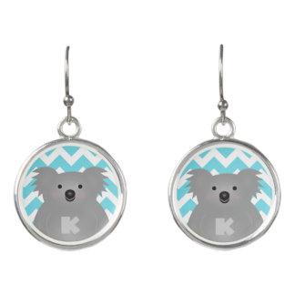 Gullig Monogram för björn för Australien babyKoala Örhängen