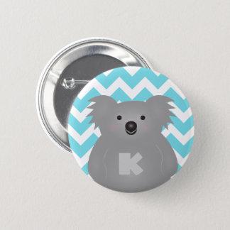 Gullig Monogram för björn för Australien babyKoala Standard Knapp Rund 5.7 Cm
