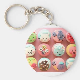 Gullig muffin Keychain Rund Nyckelring