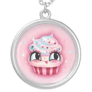 Gullig muffin vid ludd silverpläterat halsband