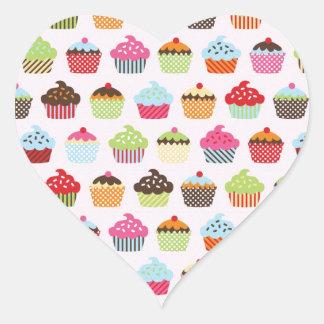 Gullig muffins hjärtformat klistermärke