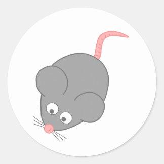 Gullig mus runt klistermärke